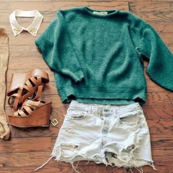 sweater, oversized sweater, aqua, dark green, cut off shorts, shredded shorts, high waisted short, hipster, high heels, clothes, knit sweater, shorts, shoes, scarf - Wheretoget