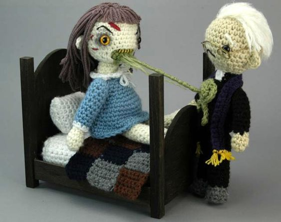 """Crochet """"Exorcist"""" playset. So wrong, yet so cute."""