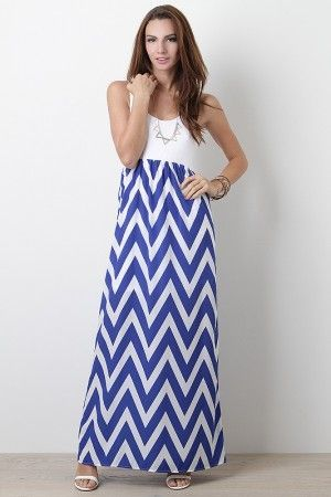 Enjoy a summer getaway in this Hamptons Vibe Maxi Dress! This sleeveless dress features jersey knit top, round neckline, thin shoulder straps, racer back, chevron print skirt, maxi construction, stitching details, and finished with lining. Summer Style Picks! | Big Fashion Show maxi dress #dkny #dress