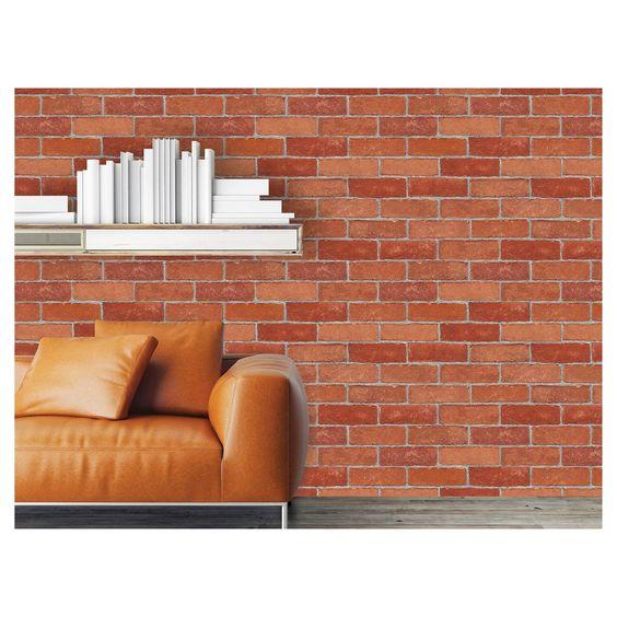 Devine Color Textured Brick Peel Stick Wallpaper Red Peel And Stick Wallpaper Color Textures Flat Paint