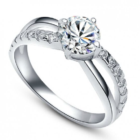 Amazing Synthetic Diamond Platinum 925 Sterling Silver Ring - USD $79.95