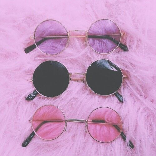 Aesthetic Cite Girl Pink Purple Sunglasses Tumblr