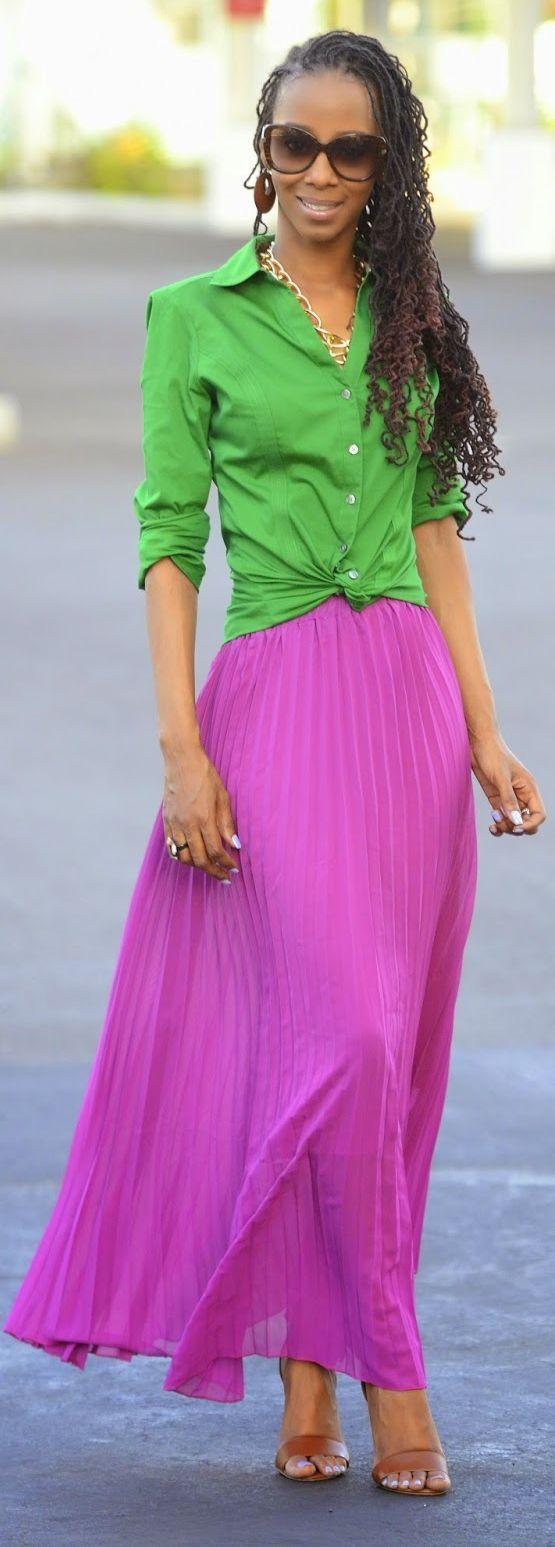Lulu's Nice Magenta Purple Maxi Pleated Skirt