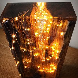 Harz Lampe zurückgefordert antike Kiefer Holz und Harz