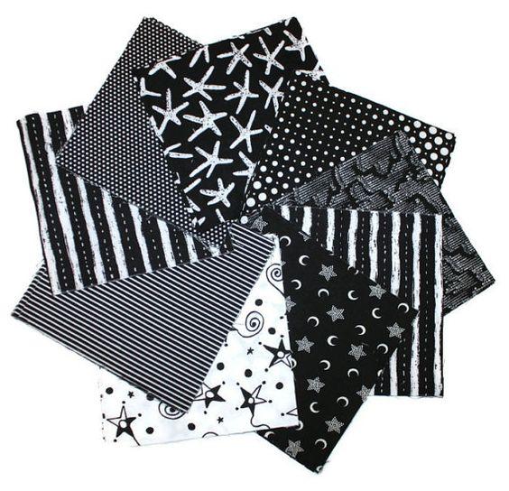 SPECIAL Black White Precut Cotton Fabric by cozylittlecorner, $7.99