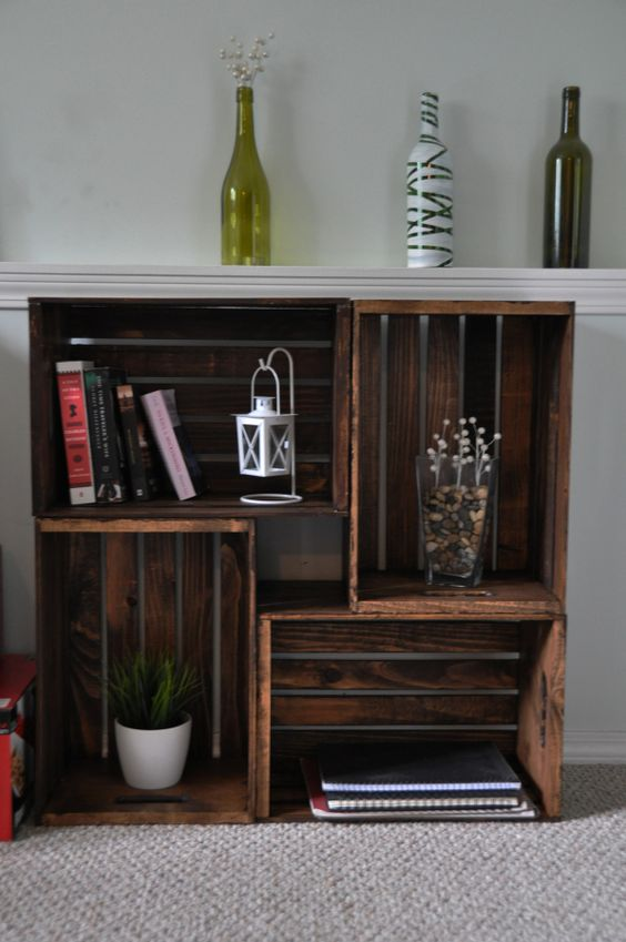 Wooden crate bookcase furniture ideas furniture and nooks for Diy crate furniture