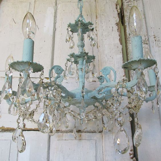Blue chandelier hand painted distressed robins egg shabby cottage lighting fixture vintage crystals garland home decor anita spero design: