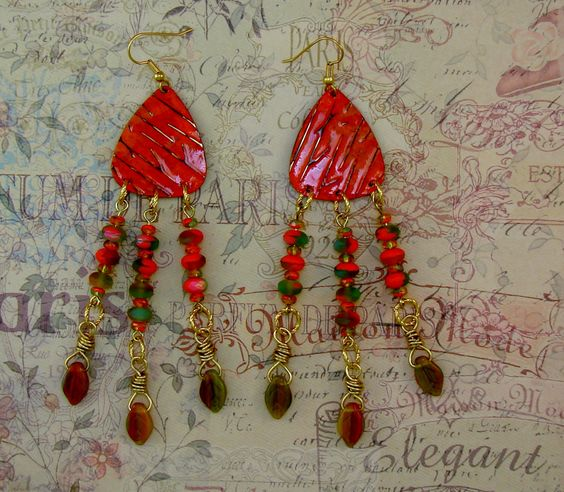 LONG DANGLE EARRINGS-Steampunk-Shabby Chic-Boho-Free Gift Included-Embossed Vintaj Brass Metal-Czech Beads-Orange-Fall-Leaves-Fun-Trendy by TheShabbyJean on Etsy https://www.etsy.com/listing/455582476/long-dangle-earrings-steampunk-shabby