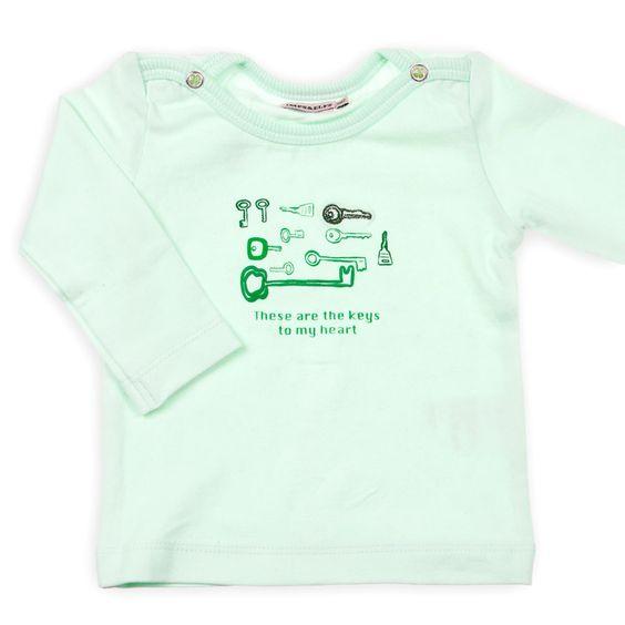 Baby long sleeve trui, mintgroen, tekst : These are the keys to my heart. Super lief.   Imps en Elfs   newborn kleding #babykleding #kindermode #winter www.kienk.nl kinderkleding en babykleding
