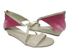 KOOLABURRA Tori Berry Pink Ombre Dip Dyed Canvas Tan Leather Sandals