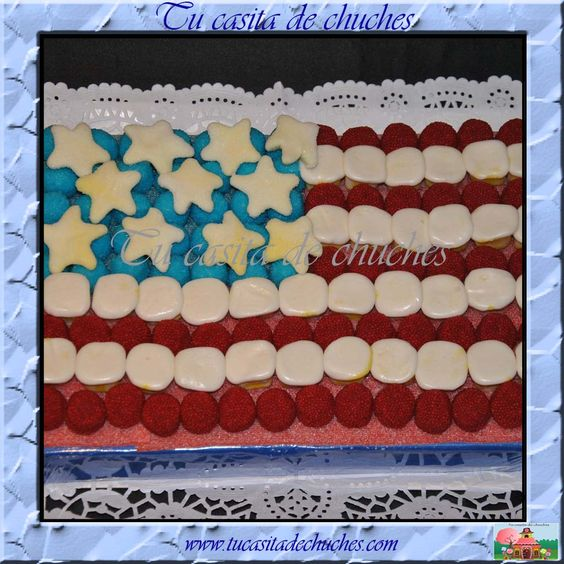 Tarta de chuches bandera de estados unidos tartas de for Decoracion estados unidos