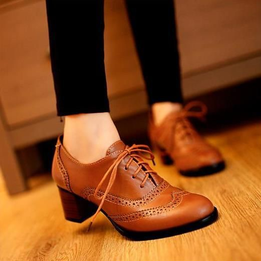 New Classics Women Lace Up Oxford Heels Shoes Boots Boots Low ...