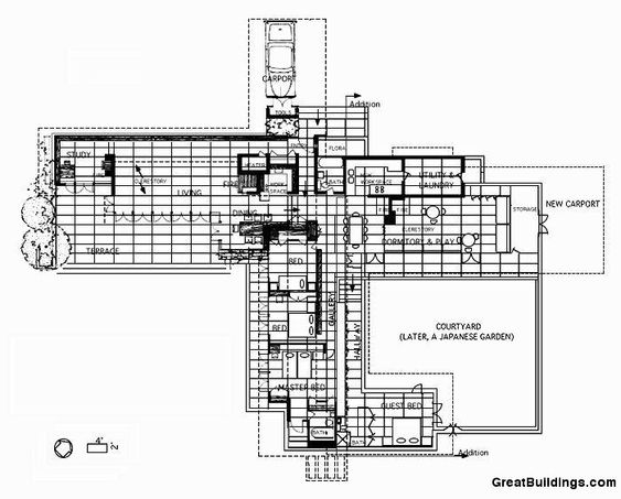 Architectural Drawing Building great buildings drawing - rosenbaum house | frank loyd wright