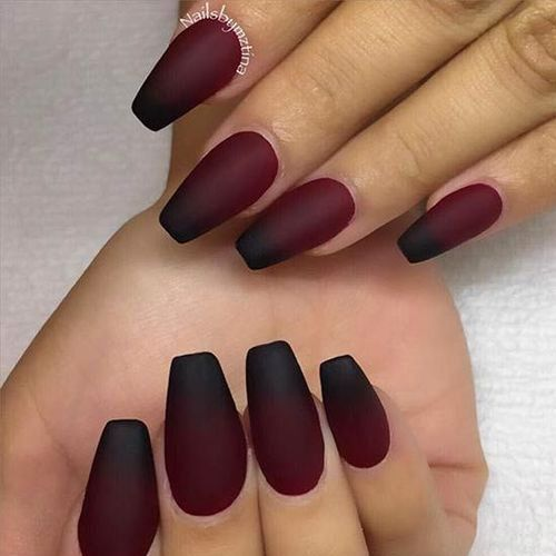 50 Best Fall Acrylic Nails For 2018 With Images Matte Maroon Nails Matte Nails Design Nail Art Ombre
