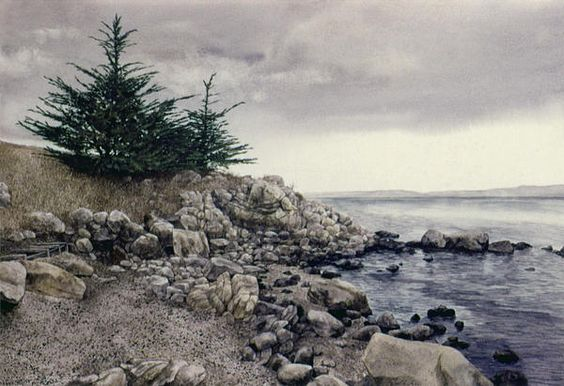Monterey Pines - by Tom Wooldridge .  ROCKS have always been a hard thing for me to paint...  WOW.. look at these.  ;)