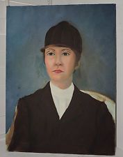 Vintage Oil Portrait Woman EQUESTRIAN Horse Rider in CAP c1980s Painting Art