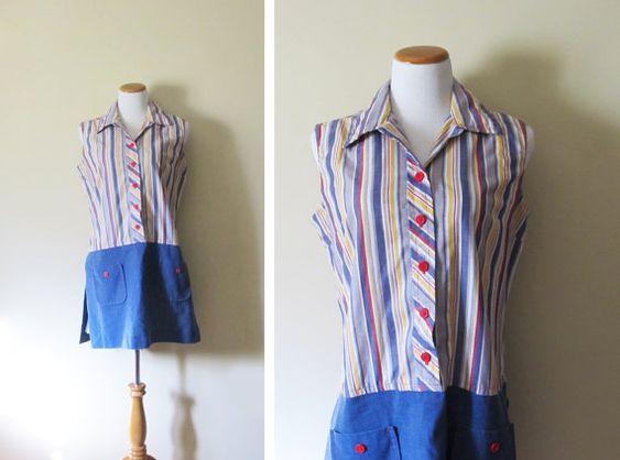 vintage dress playsuit 1960s striped blue retro mod by diaphanousvintage