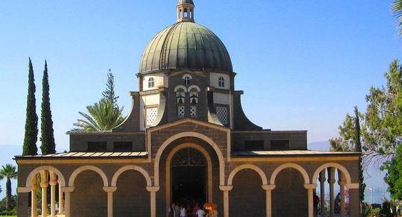 La basilique du mont des Béatitudes, en Galilée (Israël).