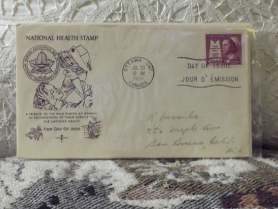 http://ajunkeeshoppe.blogspot.com/  First Day Issue/Cover-Nat. Health Stamp-Canada 1958 5c 8ozP724B4HP1182