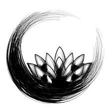 """enso with lotus flower. In Zen Buddhism, an ensō (円,相 """"circle""""?) is a circle that is hand-drawn in one or two uninhibited brushstrokes to express a moment when the mind is free to let the body create. The ensō symbolizes absolute enlightenment, strength, elegance, the universe, and mu (the void). It is characterized by a minimalism born of Japanese aesthetics."""