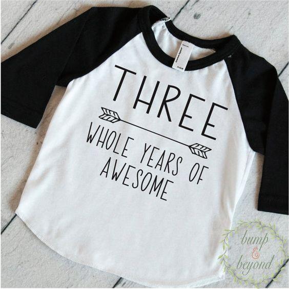 Third Birthday Boy Shirt 3rd Birthday Boy Outfit Third Birthday Boy Birthday Shirt Boy Third Birthday Outfit Three Years of Awesome by BumpAndBeyondDesigns on Etsy. Toddler Style, Boys Clothing, Trendy Boy Shirt, Kids Birthday Shirts