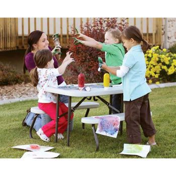 costco lifetime kids folding picnic table creating an art station at home for kids. Black Bedroom Furniture Sets. Home Design Ideas