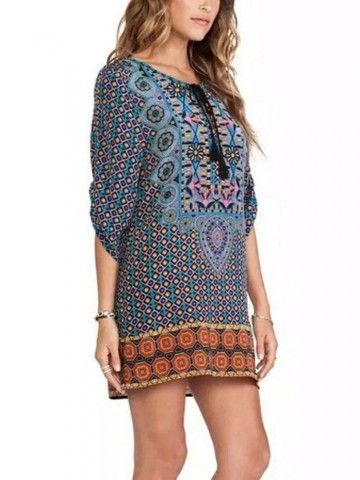 Vintage Womens Floral 3/4 Sleeve V-Neck Chiffon Short Dress Shopping Online - NewChic