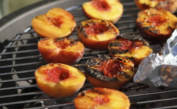 Roasted Peaches with Amaretti Filling: In Summer we always had fresh peaches in our garden. The surplus of peaches combined with my father's strict Kosher diet meant any creamy desserts were replaced with my mom roasting peach halves over the grill. They were roasted and caramelized from their natural sugars my mom would mix amaretti cookie, cocoa powder and water together and use the mixture to form a pit in the middle of the peach halves. It was delicious.