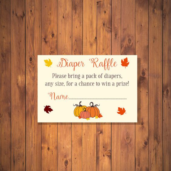 Fall Baby Shower Book Request/Diaper Raffle by PinkCarnationStudio