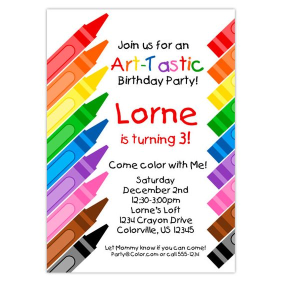 Artist Party Invitation - Rainbow Crayons, Little Artist, Art Crayon Coloring Personalized Birthday Party Invite - Digital Printable File