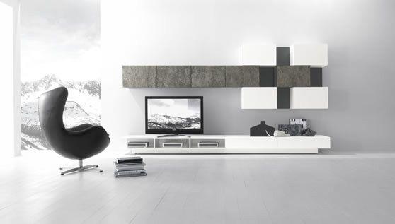 Bücherregal modern-weiß Holz-asymmetrisch Sessel bequem - bucherregal systeme presotto highlight wohnraum