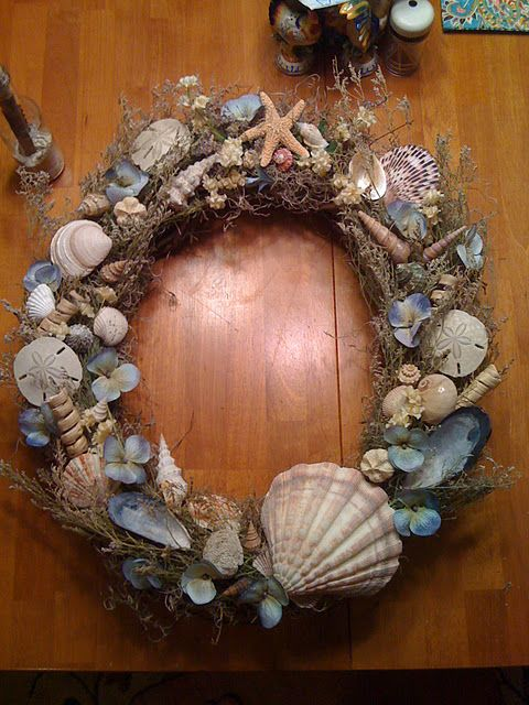 Seashell wreath craft ideas pinterest search for Seashell wreath craft ideas