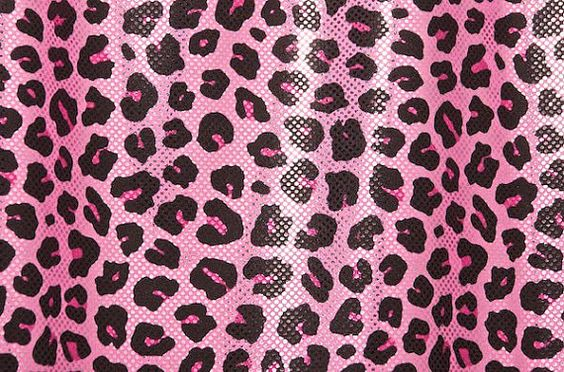 "Pink Black Metallic Leopard Stretch Lycra Fabric  - 6"" x  60"""