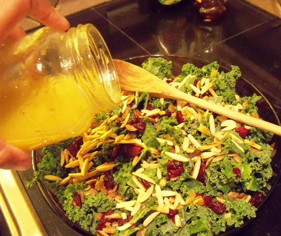 Holiday Salad: Kale with Dried Cranberries, Roasted Pumpkin Seeds, Almonds, Candied Ginger and Orange Dressing | Nicki Woo