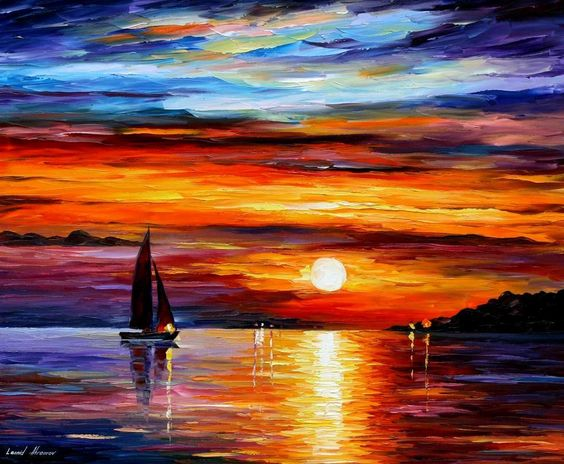 Leonid Afremov, oil on canvas, palette knife, buy original paintings, art, famous artist, biography, official page, online gallery, large artwork, fine, water, boat, sea, scape, pier, dock, night, calm, yachts, harbor, shore, rest, ship, regatta, sailer