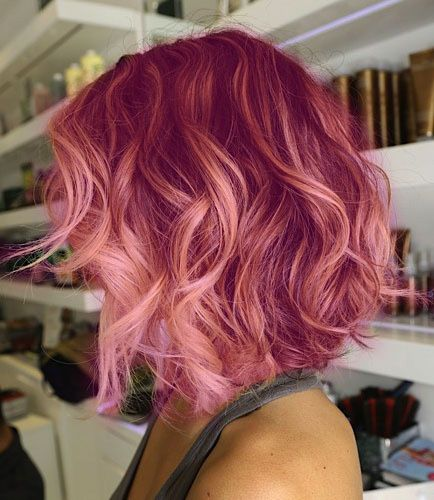 Pink and curly is always awesome... for those of you with lighter hair, you can use hair chalk as a temporary alternative to dye.: