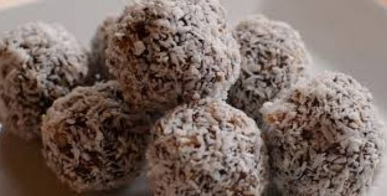 Apricot,cashew and date balls rolled in coconut