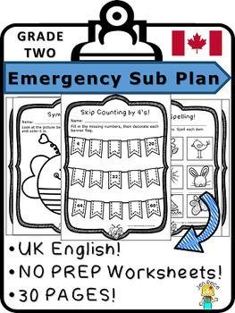 math worksheet : emergency sub plan for grade 2  math  ela canada australia uk  : Math And English Worksheets