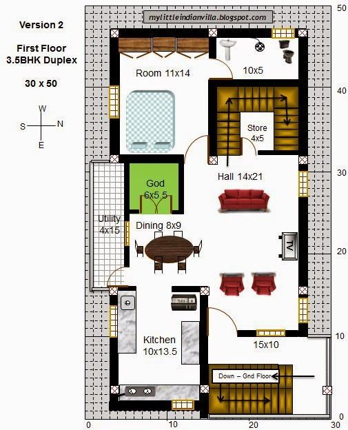 Inspiring Ideas 5 Duplex House Plans For 30x50 Site East Facing My Little Indian Villa 43r36 35bhk In E Little House Plans 30x50 House Plans Family House Plans
