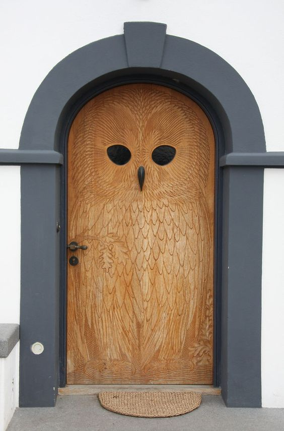Owl Door, Copenhagen... what a fun entry!  We install entry doors in the Minneapolis MN area, and we enjoy looking at unique styles like this.  http://www.replacementwindowsmpls.com: