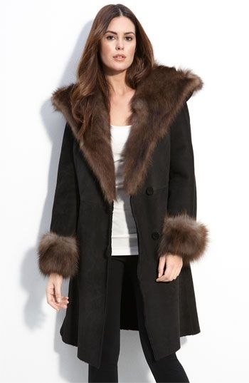 Blue Duck Shearling Coat with Genuine Fox Fur Trim | Nordstrom - StyleSays