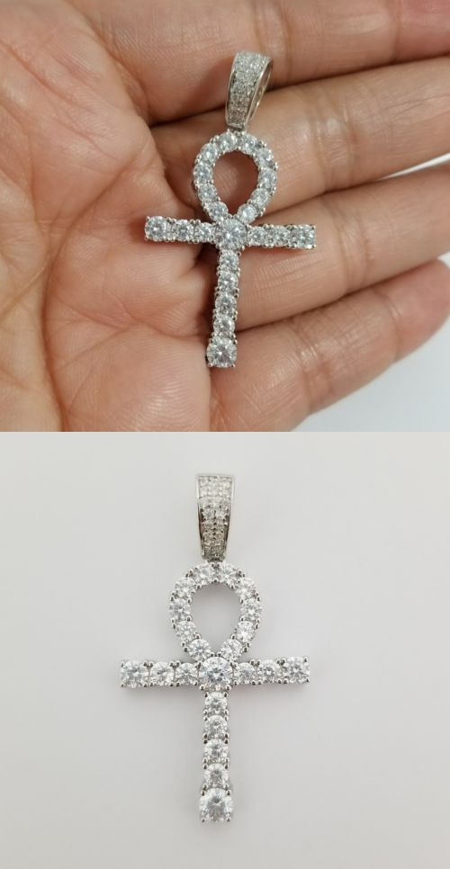 Men YG Finish 925 Sterling Silver ANKH CROSS Charm Pendant Simulated Lab Diamond