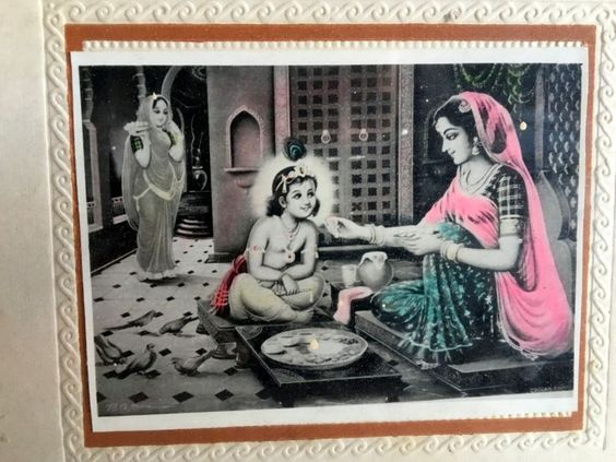 Antique Old Hindu Lord Krishna Mother Butter Feeding Black And White Photograph