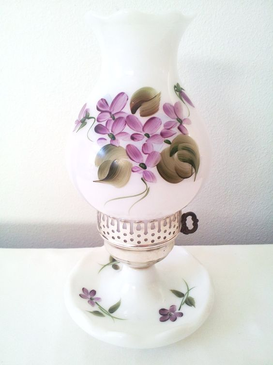 PROMO OFFER Half Off US Shipping Milk Glass Hurricane Lamp White with Bright Hand Painted Purple Flowers Cottage Chic Vintage 1970s.  via Etsy.