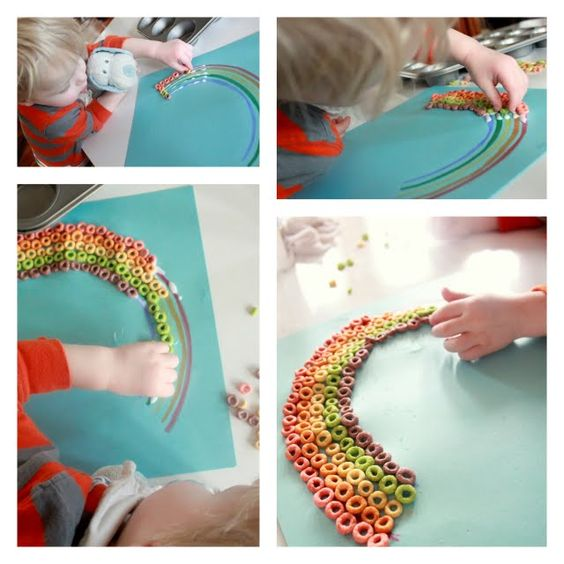 Toddler craft: Fine motor skills, color identification, and edible fun!