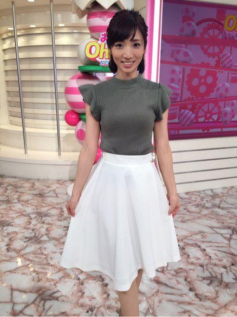 内田敦子白いふんわりスカート可愛い