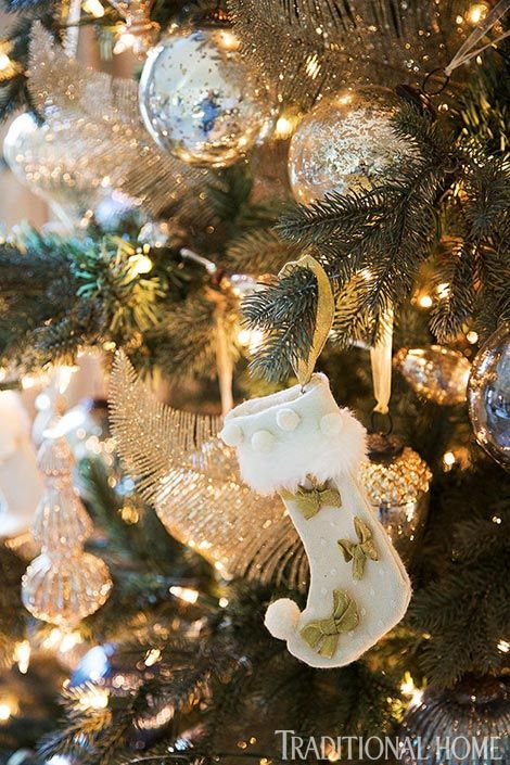 35 gold Christmas decorations and gold holiday decor - Gold and white mini stocking ornament