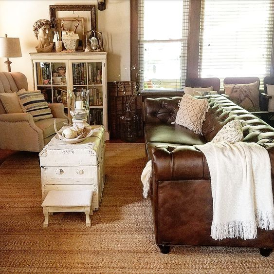 French country style living room neutral decor farmhouse vintage linen chairs blue stripe pillows jute rug