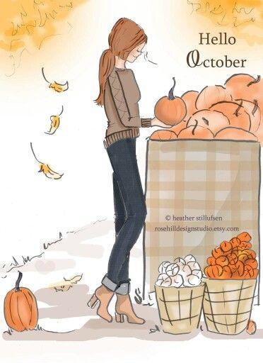 Hello, October #HelloAutumn #Illustration #Pumpkins
