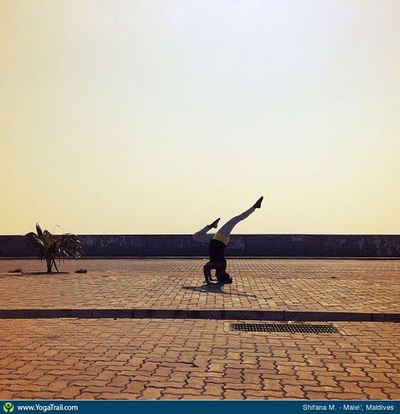 "#Yoga Poses Around the World: ""Shifana M., in Male' Maldives"""